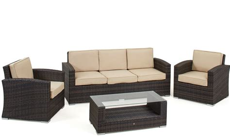 outdoor sofa sets uk mauritius 3 seat sofa brown rattan garden set all