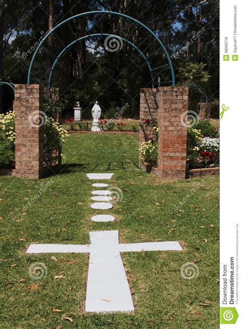 Garden With Cross Church Garden With Cross And Royalty Free