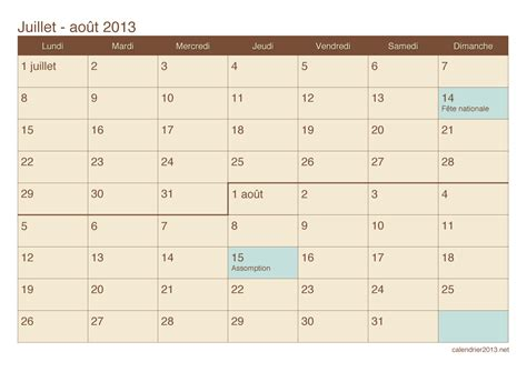 Calendrier Juillet 2013 Calendrier Juillet Et Ao 251 T 2013 224 Imprimer