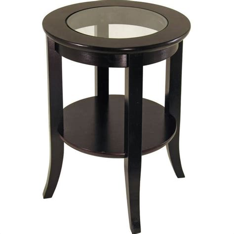 espresso accent table winsome genoa espresso wood dark brown w gls end table ebay