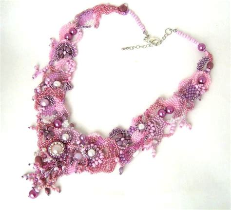 beadwork pink pink beadwork necklace beaded necklace statement necklace