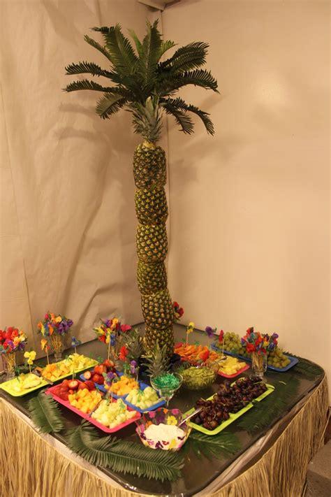 fresh fruit tree display pineapple palm tree fresh fruit display hawaiian theme