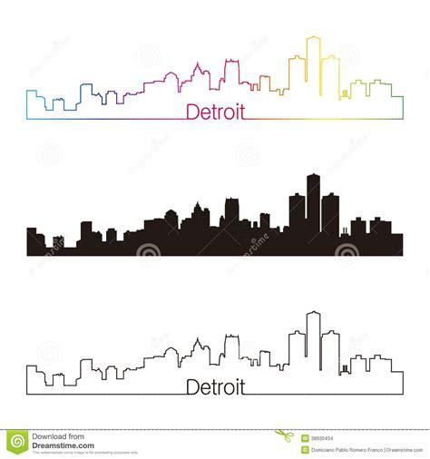 detroit skyline linear style with rainbow stock