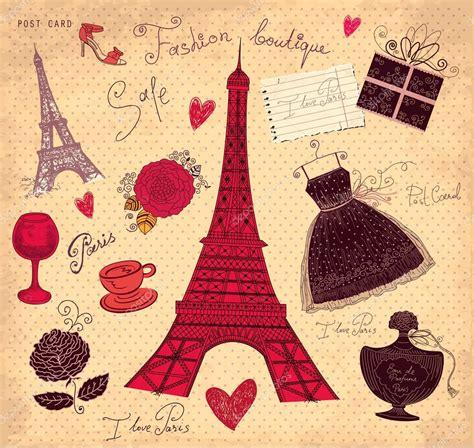 della moda francese vettore mano disegnata illustrazione d epoca con i simboli
