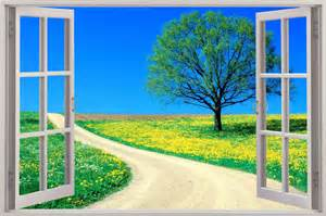 Window Wall Sticker Huge 3d Window View Enchanted Meadow Wall Sticker Mural