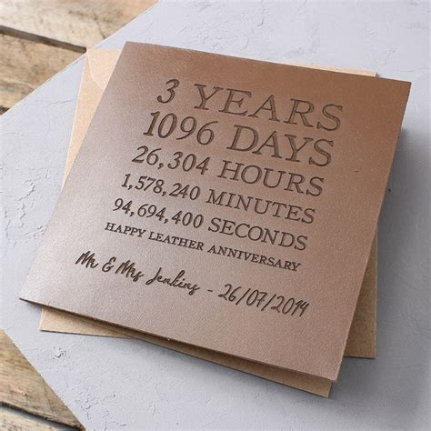 third wedding anniversary leather ideas personalised time card leather 3rd anniversary