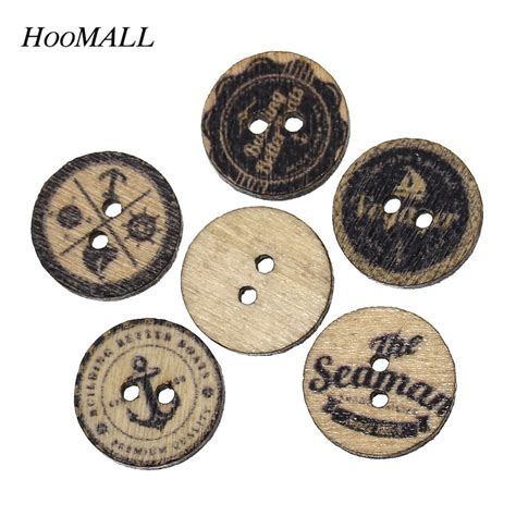 Kancing Kayu Wooden Button 15mm 11 hoomall buttons sewing 15mm 200pcs nautical buttons for clothing scrapbo scrapbooking