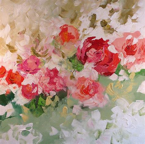 acrylic painting roses floral landscape sale original painting abstract or