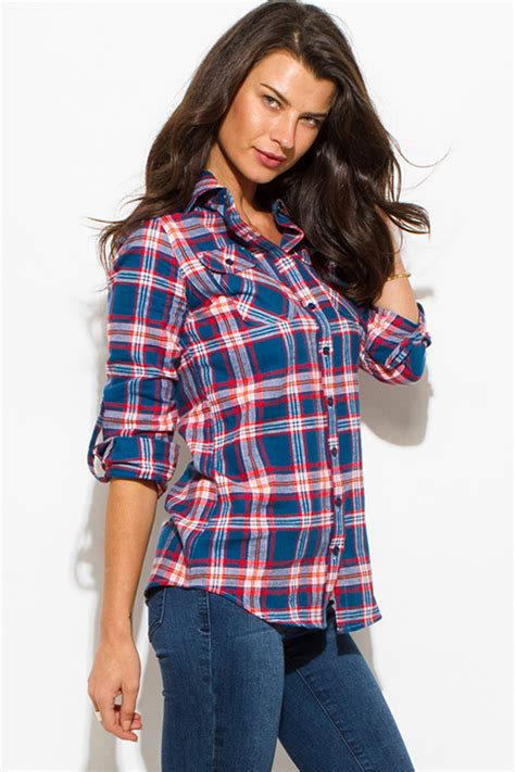 Topping Flanel Orange shop wholesale womens teal blue orange plaid flannel sleeve button up blouse top