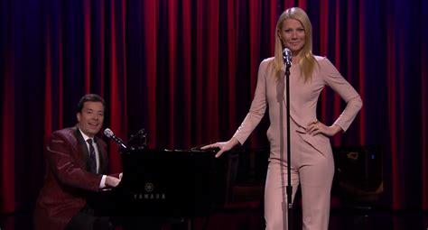 gwyneth paltrow sings broadway versions of rap songs watch gwyneth paltrow and jimmy fallon perform broadway