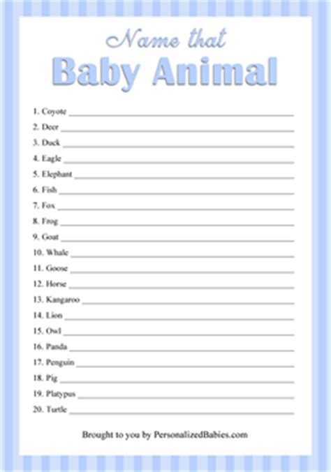 printable baby animal game free printable baby shower games personalized babies