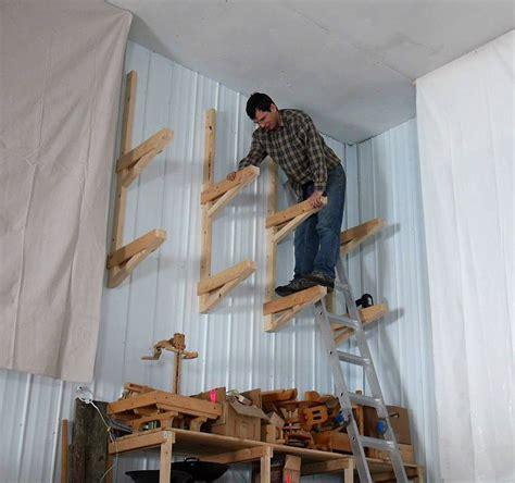 Way up high cantilevered garage shelves