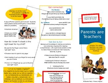 Parents Are Teachers Family Literacy Brochure In Word Tpt Parent Brochure Templates