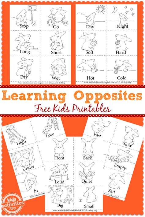printable opposite games for kindergarten learning opposites free preschool printable free