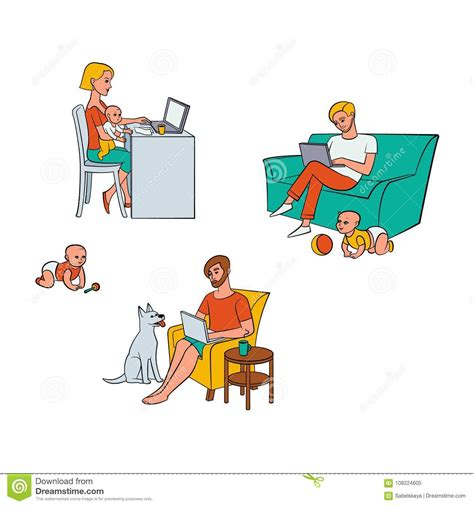 vector flat people working  home remote work stock