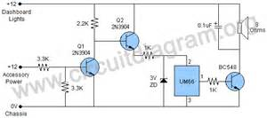 simple headlight reminder circuit diagram