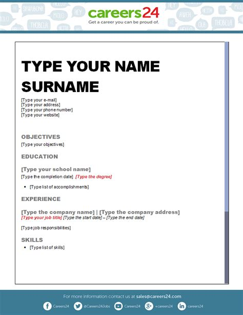 cv template word in south africa another 4 free downloadable cv templates for south african