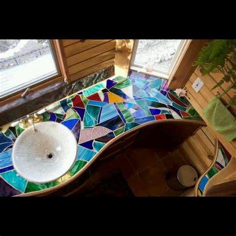 mosaic counter bathroom