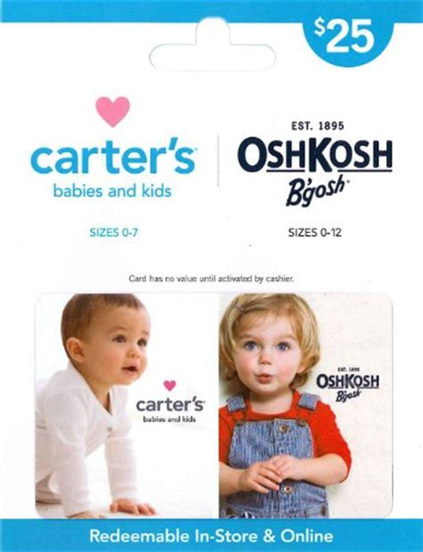 Osh Gift Card - carter s oshkosh b gosh gift card 25 shop giftcards