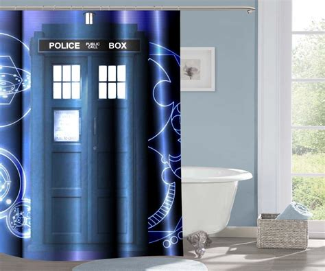 dr who bathroom accessories dr who tardis police call box 103 shower curtain