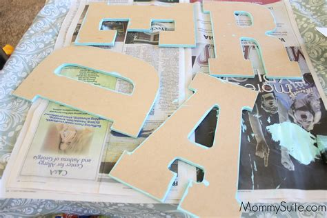 Decoupage Cardboard Letters - how to decoupage letters with no bubbles or creases