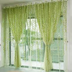 Sheer Green Curtains 1pcs Green Willow Sheer Curtain For Living Room Window Blackout Curtains Home Decor Draperies