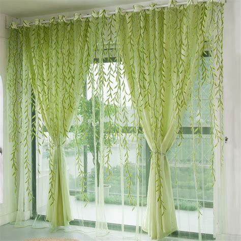 Green Sheer Curtains 1pcs Green Willow Sheer Curtain For Living Room Window Blackout Curtains Home Decor Draperies