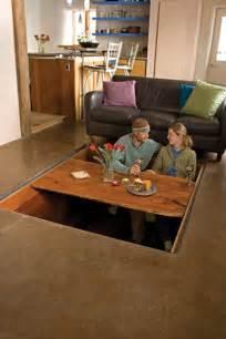 floor dining table secret sunken dining room table stashvault