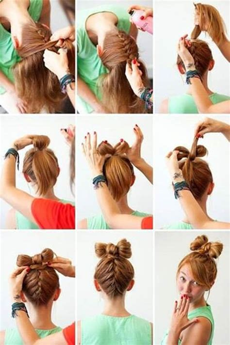 diy hairstyles bow how to diy upside down braided bow bun hairstyle