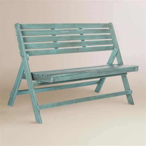 folding patio bench sea blue wood outdoor folding bench world market