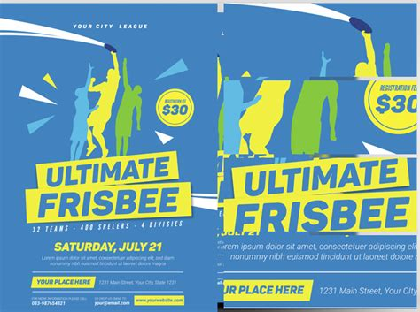 ultimate frisbee flyer template flyerheroes