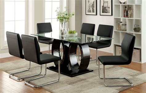 table and chair set for bedroom contemporary high gloss lacquer black 7 piece glass top