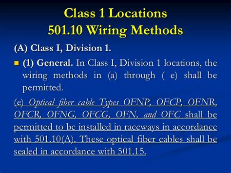 class 1 wiring methods nec and oesc 5