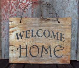 Wooden Home Decor Signs by Barn Wood Welcome Home Sign Hand Painted Rustic Wall Decor