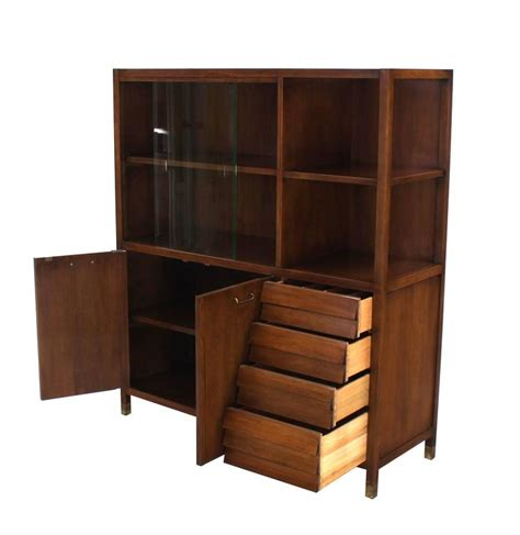 furniture of america terra boxed walnut display bookcase mid century walnut bookcase server display cabinet w