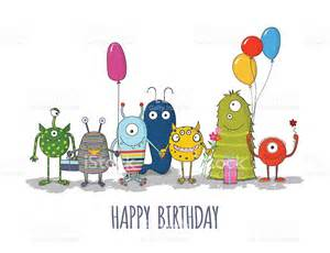 cute colorful monsters happy birthday card eps10 stock