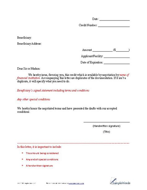 Sle Letter Of Credit Format Letters Slewords Forms Documents