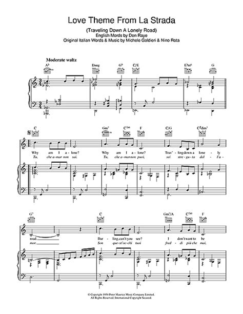 love boat theme sheet music love theme from la strada partition par perry como