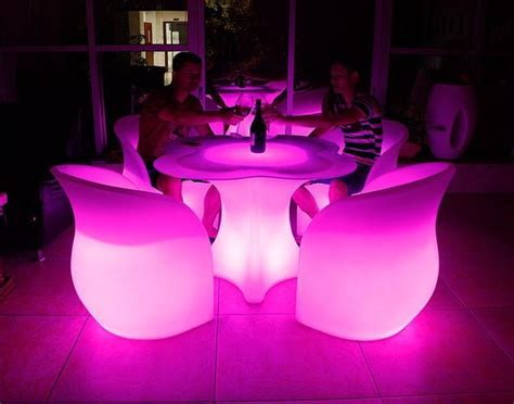 chargeable remote control lighted cordless led bar table