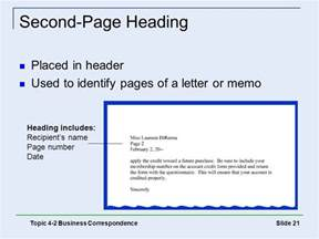 Business Letters Second Page Heading The Office Procedures And Technology Ppt