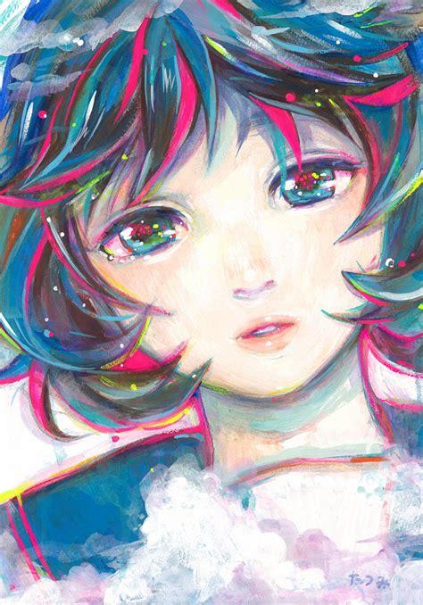 acrylic painting anime safebooru acrylic paint medium blue blue hair