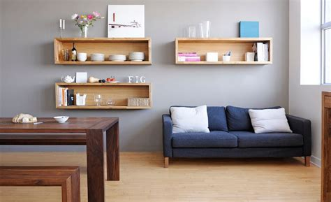 In the living room box shelving can be used for storage and display