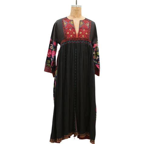 Handmade Maxi Dresses - 70s handmade vintage embroidery flower pattern maxi dress