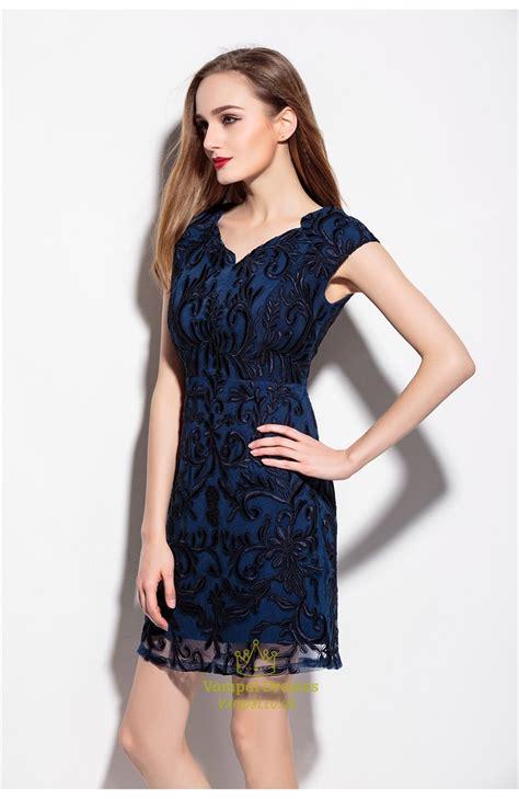 V Neck Sleeve Cocktail Dress navy blue v neck embroidered overlay cocktail dress with