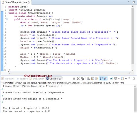 Java Program For Trapezium Pattern | java program to find area of trapezoid