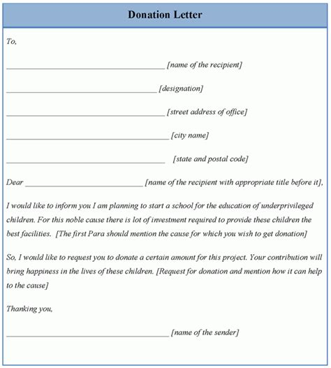 charity letter template letter template for donation exle of donation letter