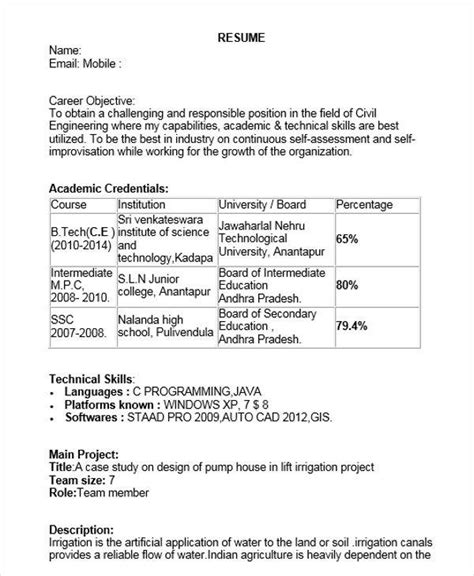sle resume for civil engineer fresher doc 40 fresher resume exles