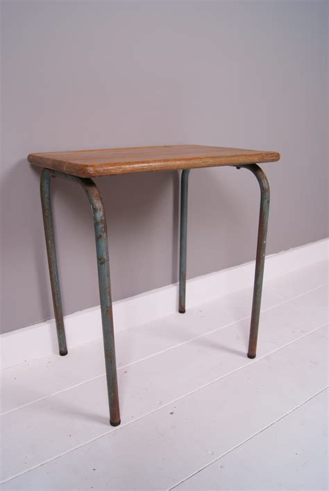 Small College Desk Children S Vintage Small Table Desk With Metal Legs Blue Ticking