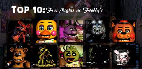 Top Ten List Of Characters You Should Idolise by Top 10 Five Nights At Freddy S Characters By Slythewarrior