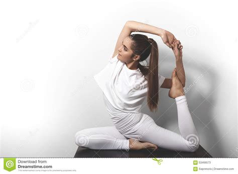 Hairstyle Photos Only Sport by Beautiful In Posing In Asana On A Studio